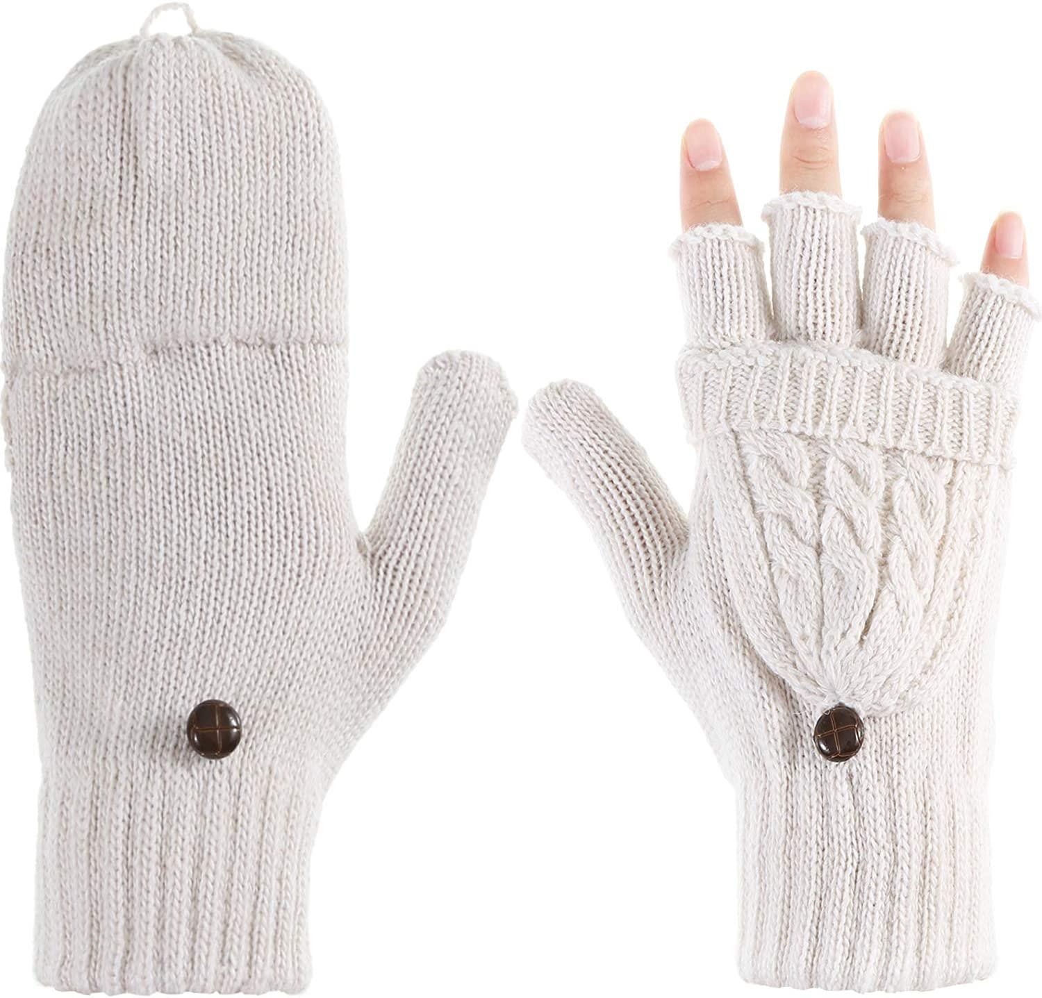Tatuo Women Convertible Glove Cable Knit Glove Half Finger Mitten with Cover for Cold Days