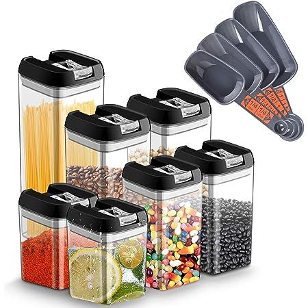 Chenci 7pcs Boîtes Alimentaire Conservation Hermétique Plastique Boite Rangement Cuisine avec Couvercle Bocal,sans BPA Étanche,Ensembles de Boîtes Bocal Alimentaire Cuisine (Noir)