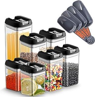 Chenci 7pcs Boîtes Alimentaire Conservation Hermétique Plastique Boite Rangement Cuisine avec Couvercle Bocal,sans BPA Éta...