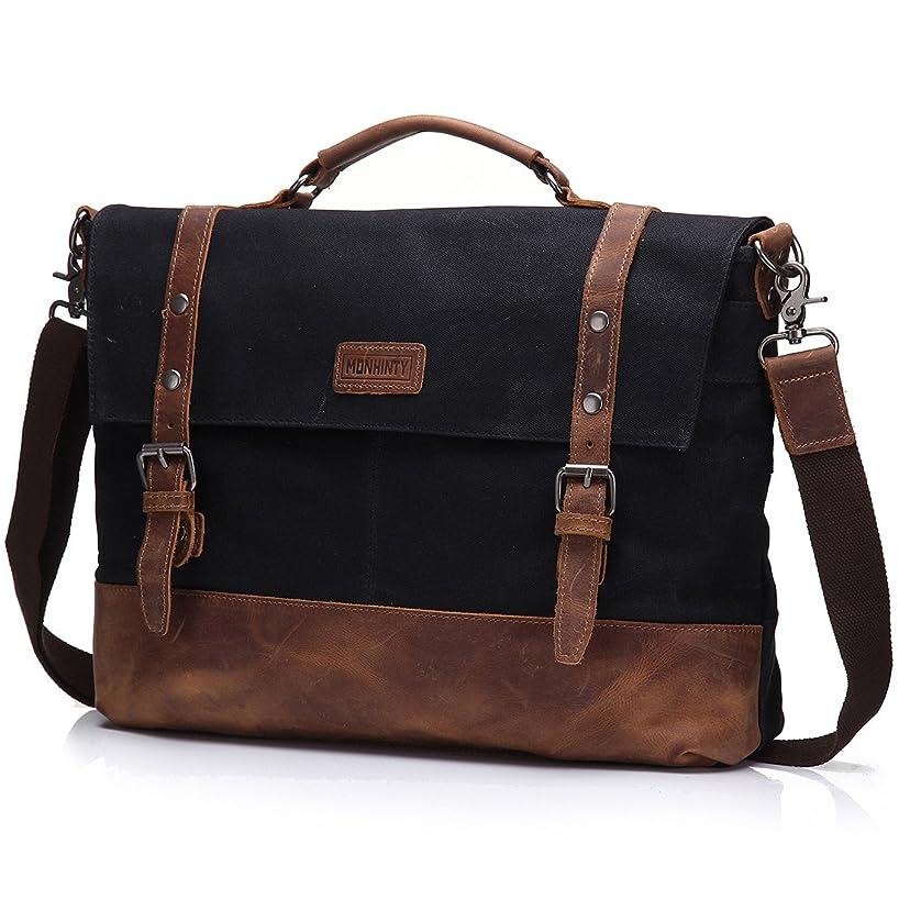 Canvas 15.6 Inch Laptop Messenger Bag for Men - Vintage Leather Business Briefcase Tote Shoulder Satchel Bags with Removable Strap