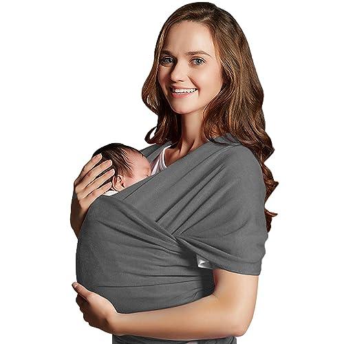 Echarpe de Portage des Bébés, Mopalwin Porte-bébé Fait de Coton Elastique,Echarpe Multifonctionnel pour les Bébés, Gris