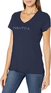 Nautica womens Easy Comfort Supersoft 100% Cotton Classic Logo T-Shirt T-Shirt