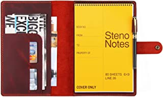 """$35 » Sponsored Ad - Leather Cover for 6""""x9"""" Steno Notebook, Leather Folio Cover Compatible with Rocketbook Flip Executive Size,..."""