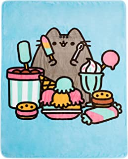 Pusheen The Cat Character Eating Candy Treats Dream Throw Blanket (Blue)