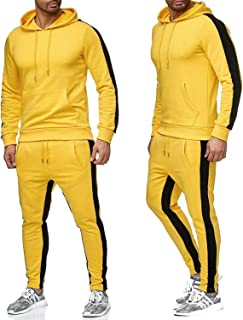 RINZON Men's 2 Piece French Terry Pullover Hoodies Sweatpants Activewear Sets Striped Drawstring Sports Tracksuit Sets