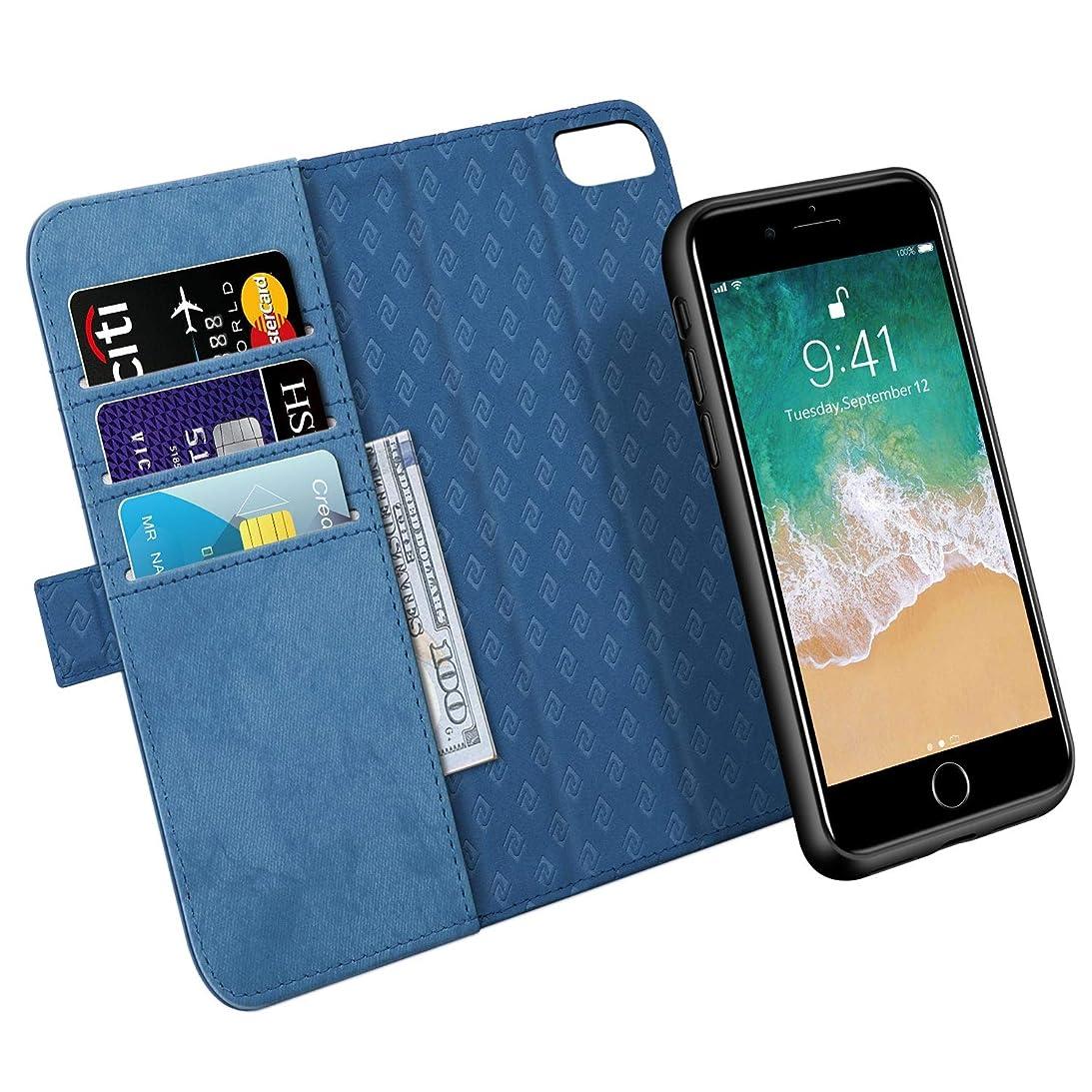 美容師同志これまでiPhone 6 Plus ケース iPhone 7 Plus ケース iPhone 8 Plus ケース 手帳型 取り外しな財布型 サイドマグネット なカバー アイフォン6 プラスケース アイフォン7 プラスケース アイフォン8 プラスケース 手帳型 全面保護 スタンド機能 耐汚れ 耐衝撃(5.5インチ用 ネイビー)Navy Blue