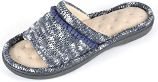 RockDove Women's Knit Open Toe Slipper with Pom Embroidery