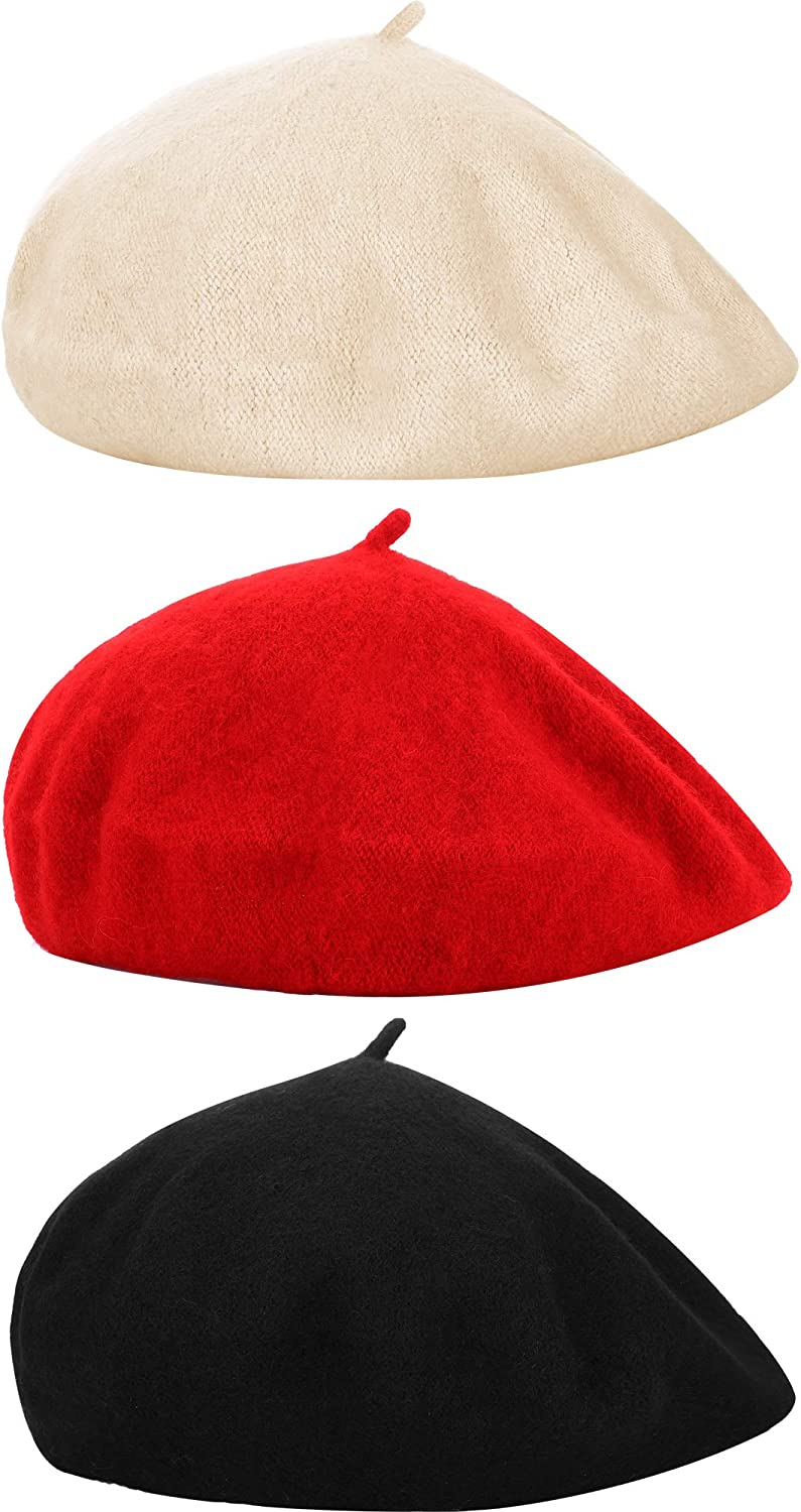 3 Pieces Children Beret Hat French Style Cap Beanie Solid Color Winter Hat for Women and Girls Casual Use (Kids Size)