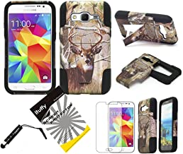 For Samsung Galaxy Core Prime G360 / Boost Mobile Samsung Galaxy Prevail LTE S820L / ITUFFY(TM) 3items Combo: LCD Screen Protector Film + Stylus Pen + 2 tone Design Dual Layer KickStand Tuff Impact Armor Hybrid Soft Rubber Silicone Cover Hard Snap On Plastic Case (Tree Deer Camouflage - Black)