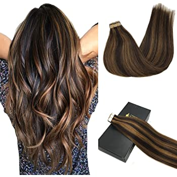 GOO GOO Remy Hair Extensions Tape in Human Hair Ombre Dark Brown Highlighted Chestnut Brown Real Natural Hair Extensions Tape in Hair 20pcs 50g 14inch