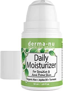 Moisturizer for Sensitive and Acne Prone Skin - Daily Face Treatment for Dry Oily Skin - Light Anti-Aging & Anti-Wrinkle Facial Cream for Day and Night Use - All Natural and Organic - 50ml