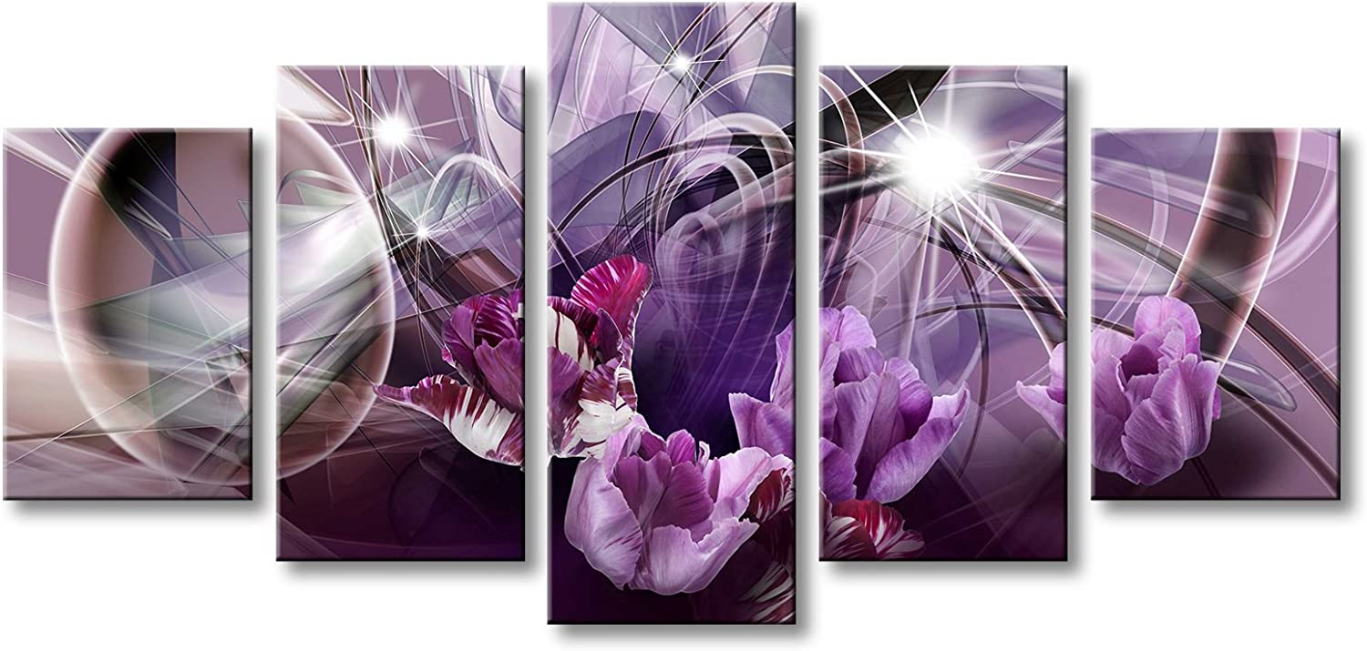 Large Abstract Canvas Painting with Purple Flower Wall Art Decor Modern Floral Picture Artwork