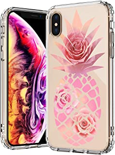 MOSNOVO Tropical iPhone Xs MAX Case, Pineapple with Roses Flower Pattern Printed Clear Design Transparent Plastic Back Case with TPU Bumper Protective Case Cover for iPhone Xs MAX