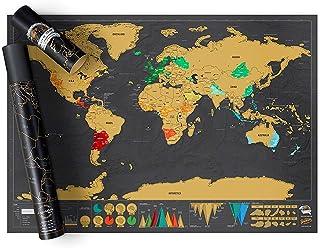 Carte du Monde à Gratter Deluxe, Mappemonde à Gratter Luxe, Carte de voyage, Détails reliefs du monde