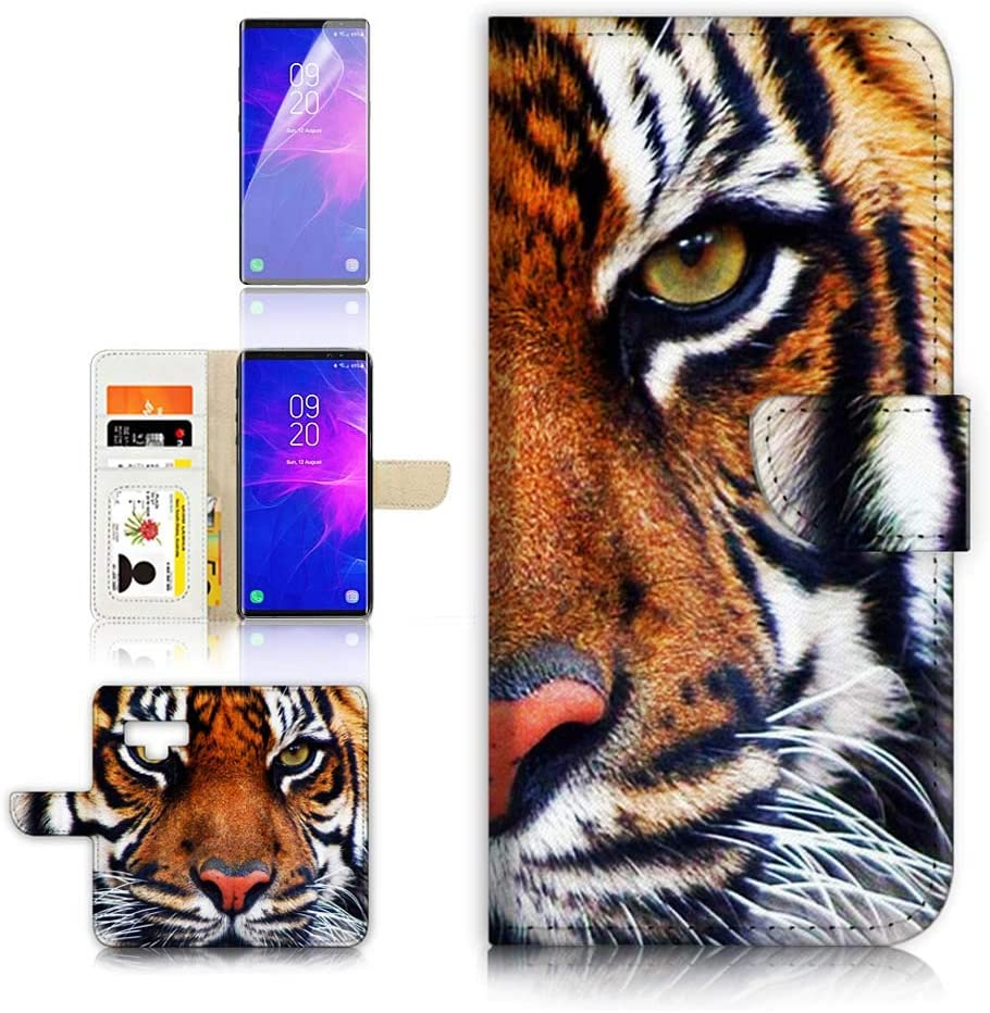 (for Samsung Note 9, Galaxy Note 9) Flip Wallet Case Cover & Screen Protector Bundle - A20015 Tiger