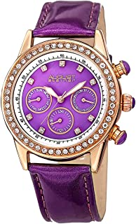 ساعة اوجست ستينر كوارتز سويسرية ارجوانية للنساء بسوار من الجلد - AS8018PU