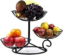 TREEZITEK 3-Tier Fruit Basket Holder Decorative Fruit Bowl Stand,Black