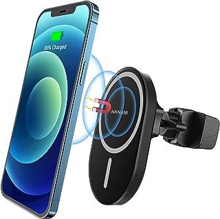 「2021年最新版」NANAMI ワイヤレス充電器 マグネット式(Magsafe対応) 車載ホルダー iPhone 12/12 Pro/12 Pro Max/12 Mini 7.5W急速充電 MagSafeケース対応 360°角度調整可能 エア...