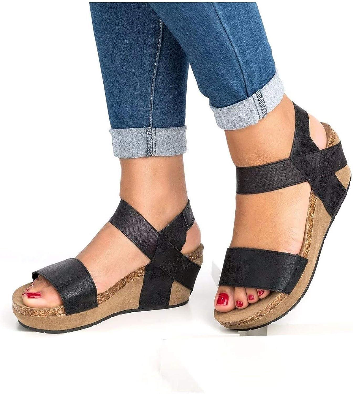 CoraSheep Summer Women Sandals Fashion Beach shoes Wedge Heels shoes Comfortable Platform Plus Size 42 43 SNC-009