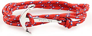 Happiness Jewelry Nylon Rope Sailing Vikings Wrap Bracelet with Nautical Anchor Alloy Clasp 28 Inches