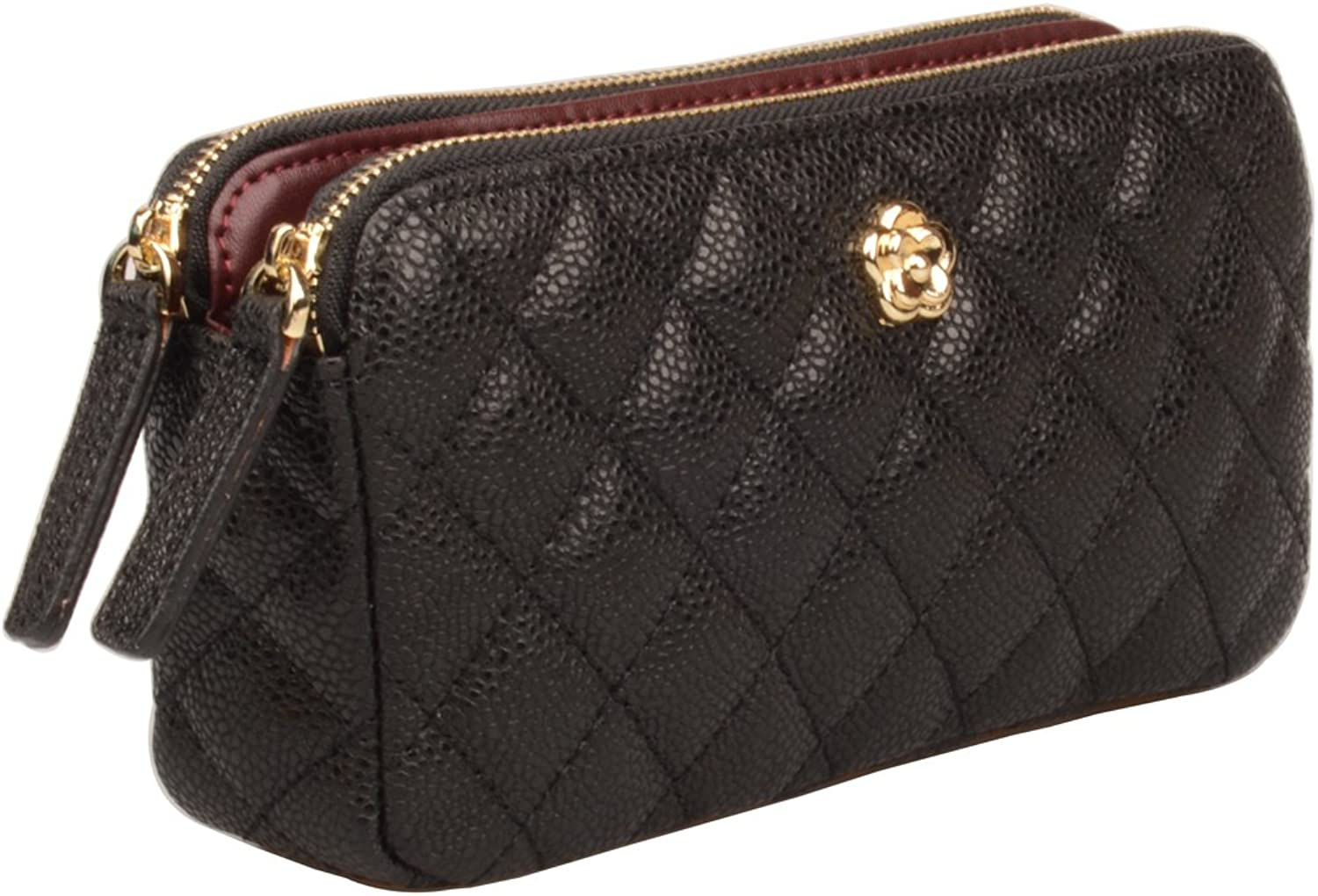 Ainifeel Women's Genuine Leather Quilted Wallet Billfold Cell Phone Wallet With Chains