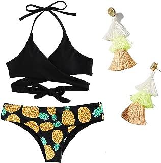 Womens Padded Push-up Pineapple Floral Print Wrap Bikini Set