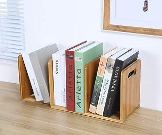Ganeed Expandable Desktop Bookshelf,Bamboo Desktop Bookcase,Mini Bookshelf Organizer Tabletop Bookshelf for Office Home Ta...