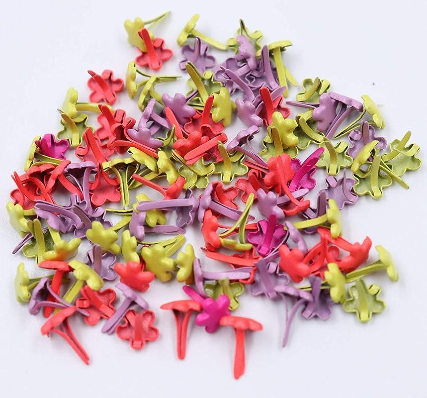 Floranea 100 Pcs Mini Brads Flower Shape Multi Color Floral Small Round Metal Paper Fasteners Pastel Brads for Art Craft School Project Kindergarten Scrapbooking DIY Supplies (Flower)