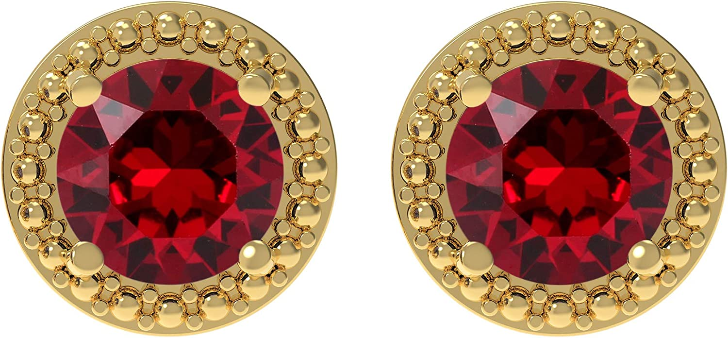 MIRRAMOR Gold Plated Birthstone Stud Earrings Embellished with AAA+ Quality Crystals