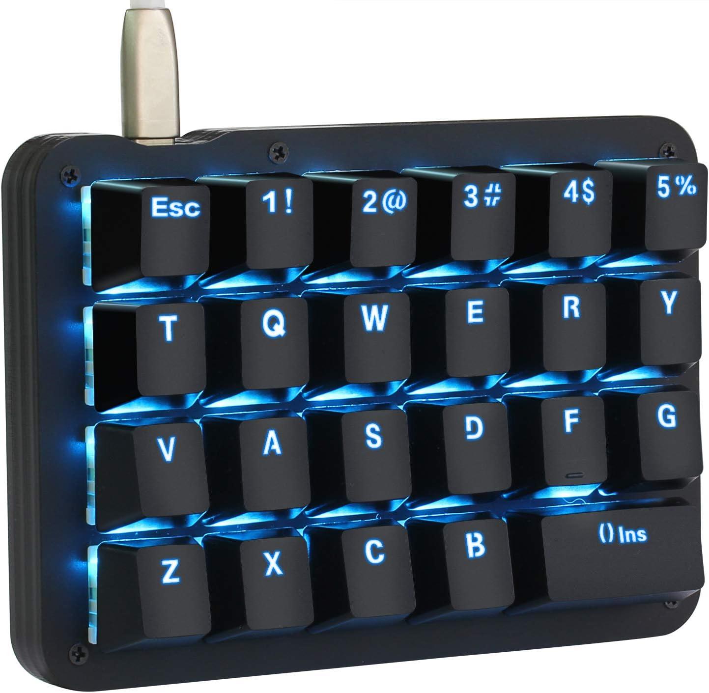 Koolertron One Handed Macro Mechanical Keyboard,Blue LED Backlit Portable Mini One-Handed Mechanical Gaming Keypad 23 Fully Programmable Keys (Blue Backlit/Blue switches)