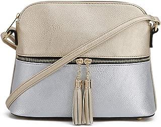 SG SUGU Lightweight Medium Dome Crossbody Bag with Tassel   Zipper Pocket   Adjustable Strap