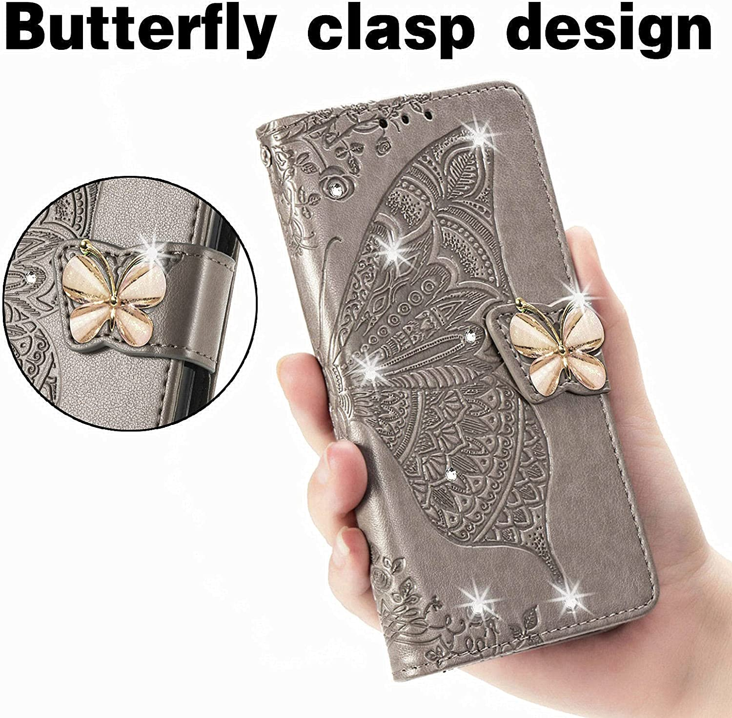 CCSmall Samsung Galaxy Z Fold3 5G Wallet Case,Kawaii 3D Butterfly Embossing Slim Flip PU Leather with Magnetic Closure Credit Card Slots Holder Phone Cover for Samsung Galaxy Z Fold 3 Rhinestone Grey