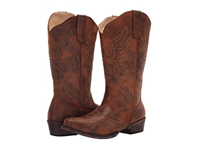 Roper Eaglets (Brown Faux Leather) Cowboy Boots
