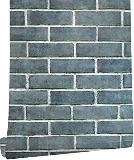 """HaokHome 61009 Faux Realistic Brick Wallpaper Peel Stick Wall Decor 17.7""""x 19.7ft Prepasted Contact Paper Grey/Black/White"""