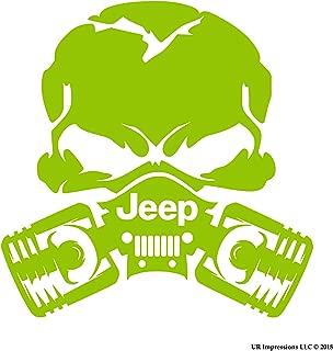 UR Impressions LGrn Jp Piston Gas Mask Skull Decal Vinyl Sticker Graphics for Jeep 4x4 Grand Cherokee Wrangler Renegade SUV Wall Window Laptop|Lime Green|5.5 inch|URI028-LG