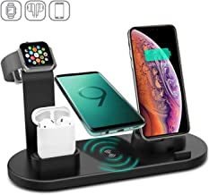 Kertxin 4 in 1 Wireless Charger Stand,QI Fast Wireless Charging Station Dock for Apple Watch 5 4 3 2 1,Airpod,iPhone 11 11 Pro Xs XR Max X 8 Plus 8,Samsung Galaxy S9 S8,LG