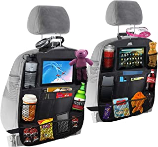"""Car backseat organizer with 10.10"""" tablet & cup holder, 10 storage pockets- Upgraded premium size baby car back seat organ..."""