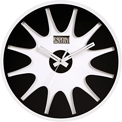 Safal Open Round MDF Wall Clock (31 cm x 31 cm x 6 cm, Black)