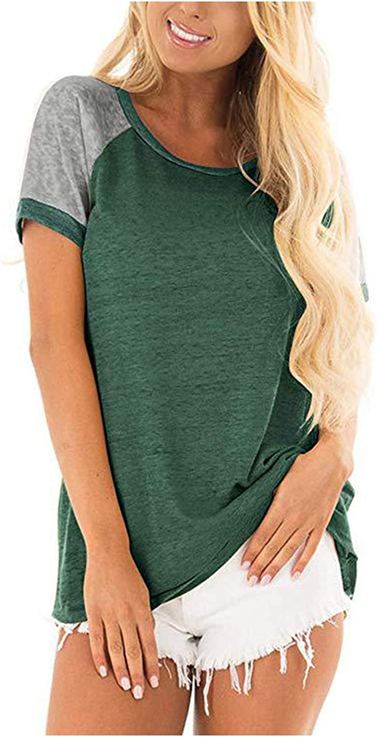 FUNEY Women's Summer Round Neck Colorblock Short Sleeve Pullover T Shirt Tops Oversized Casual Patchwork Tee Blouse