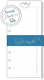 SinnWunder ToDo-Lists, Calendar Refills/Inserts for Ring Bound Planners, Personal Size, Different Designs Available (PureSinn)