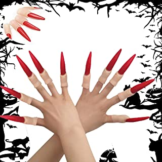 MISUD 10pcs Halloween Spooky Scary Witches Red Nail Fake Finger Claws for Costume Cosplay Party Supplies Ghost Props