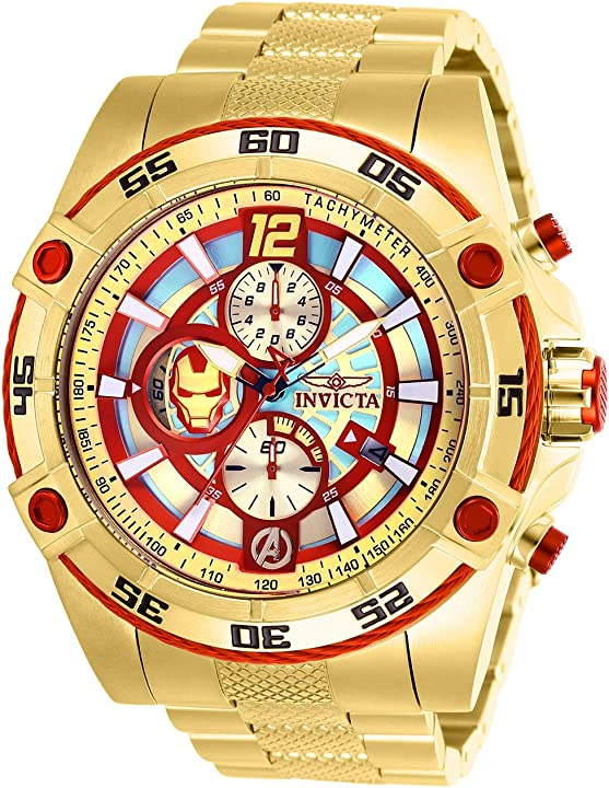 Orologio iron man invicta marvel limited edition 26799 iron man quarzo 52 mm cassa oro quadrante rosso/oro