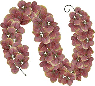 SUPLA 6' Long Fake Fall Eucalyptus Leaf Garland Hanging Fall Leave Vine Twigs Strings in Autumn Colors Indoor/Outdoor Fall Wedding Door Frame Doorway Backdrop Fireplace Thanksgiving Dinner Party