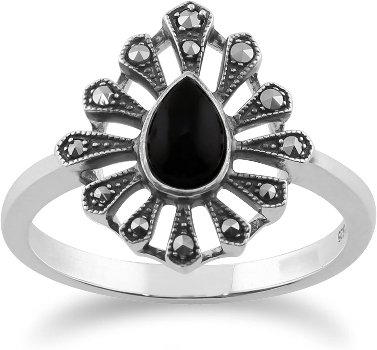 Gemondo 925 Sterling Silver 0.30ct Black Onyx & Marcasite Art Deco Ring