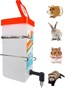 Small Animal Water Bottle. Non-Drip Waterer for Small Pet, Guinea Pig, Bunny, Hamster, Ferret, Rabbit, Mouse, no Leak no Mess Hanging Mount Drinker, BPA Free. (32 Oz).