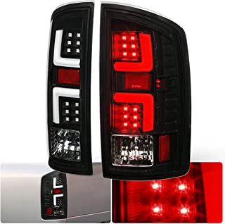 AJP Distributors Black Housing Clear Lens White LED Tube Tail Light Brake Lamps For Dodge Ram 1500 2500 3500 Upgrade Replacement Lighting Assembly L.E.D. 2007 2008 2009 07 08 09