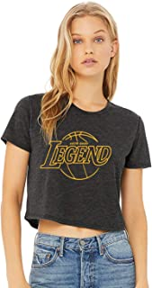 Legend Basketball Rest in Peace RIP (1978-2020) American Apparel Short Sleeve Cropped Tee Shirt (Crop Top) Heathered Black