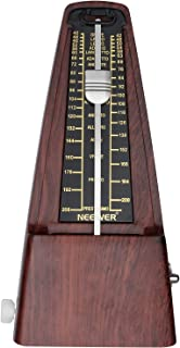 Neewer NW-707 Square Wind up Mechanical Metronome with Accurate Timing and Tempo for Piano Guitar Bass Drum Violin and Other Musical Instruments, Ideal for Music Lovers, Beginners or Musicians (Teak)