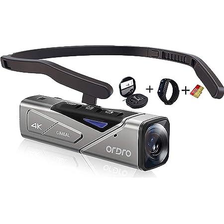 4Kビデオカメラ 、EP7ミニボディカメラウェアラブルカムコーダー、スマートフォンへのWiFi接続、64GB microSDXC、リモコン付属