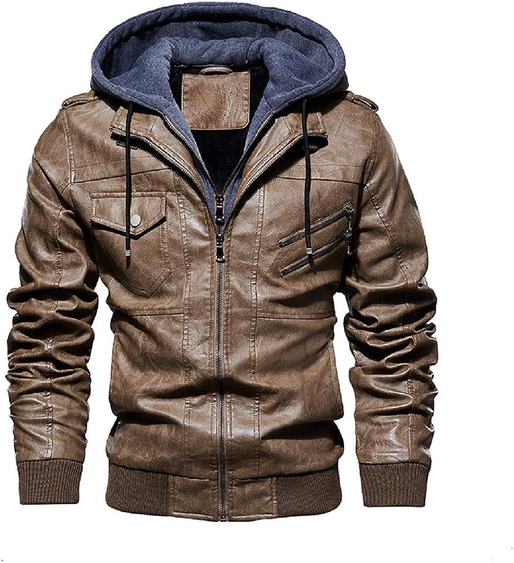 CHARTOU Men's Detachable Hooded Full Zip Fleece Lined PU Leather Motorcycle Racer Jacket